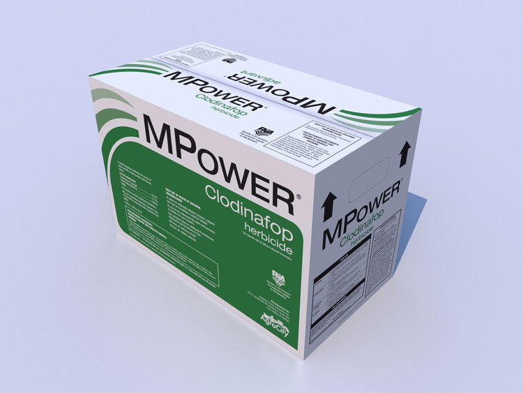 3D render of final production version of MPower Clodinafop packaging