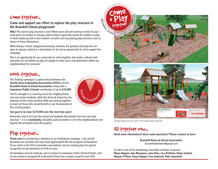 Interior of fundraising brochure. Playground images supplied