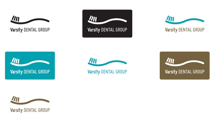 Varsity Dental logo in horizontal format, with colour variations