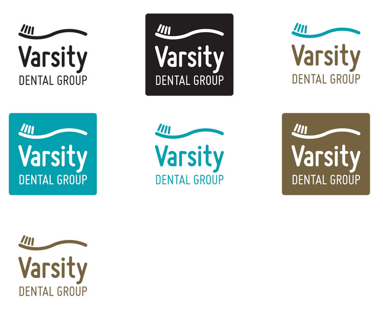 Varsity Dental logo in vertical format, with colour variations