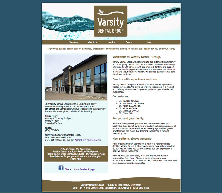 Varsity Dental website