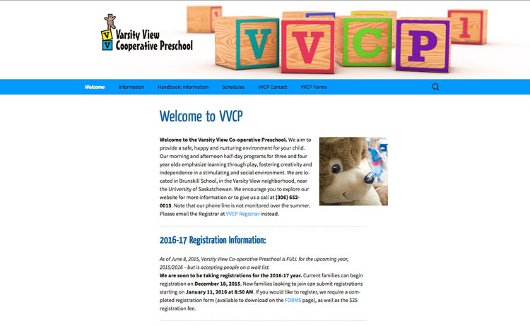 Varsity View Cooperative Preschool website